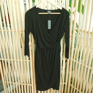 Covington Long Sleeve Black Faux Wrap Dress Size S